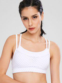 Strappy Fishnet Overlay Bra - White L