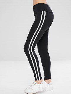 Striped Wide Waistband Sport Leggings - Black L