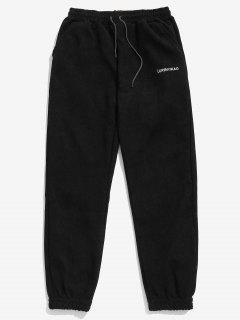 Solid Beam Feet Corduroy Pants - Black M