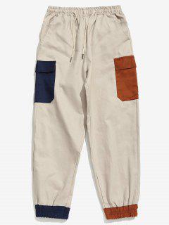 Colorblock Pocket Beam Füße Hose - Helles Khaki M