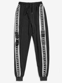 Side Letter Stripe Buckle Jogger Pants - Black M