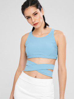 ZAFUL Cut Out Criss Cross Bra - Light Sky Blue L