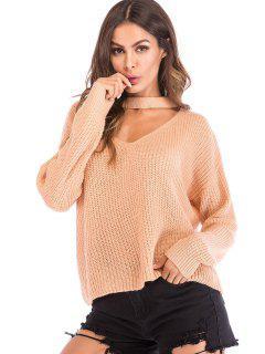 Cut Out Choker Neck Oversized Sweater - Apricot L