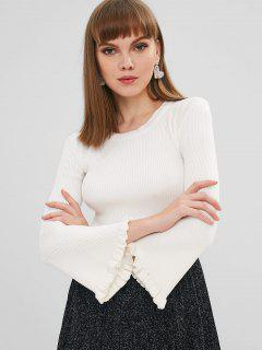 Ribbed Frilled Bell Sleeve Sweater - White