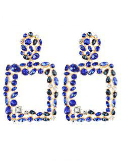 Bohemian Style Water Drop Hollow Design Earrings - Blue
