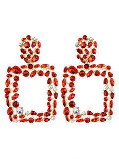 Bohemian Style Water Drop Hollow Design Earrings - Red
