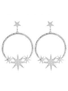 Alloy Star Rhinestoned Round Earrings - Silver