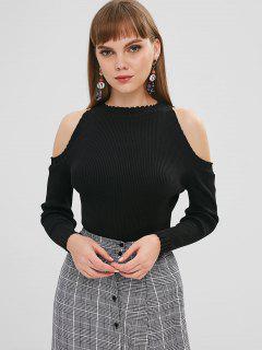 Ribbed Knit Cold Shoulder Sweater - Black