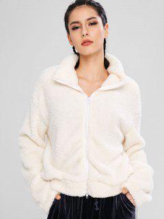 ZAFUL Fluffy Drop Shoulder Zipper Teddy Jacket - Warm White S