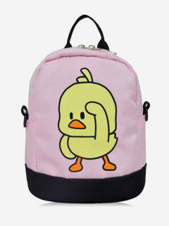 Duck Printed Mini Student Backpack - Pig Pink