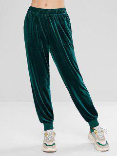 ZAFUL Pantalon Jogging à Taille Haute En Velours  - Vert Foncé S