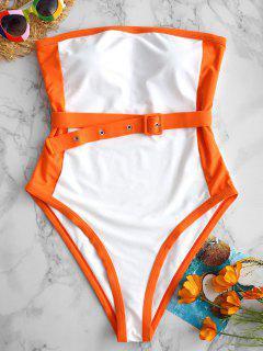 ZAFUL Two Tone Belt Bandeau Swimsuit - Multi-a S