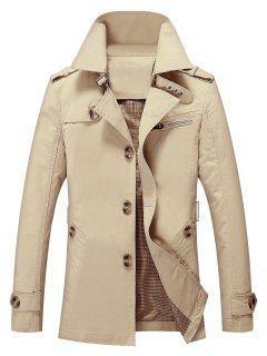 Solid Button Up Jacket - Light Khaki L