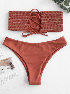 ZAFUL Lace-up Smocked Bikini Set - Chestnut Red S
