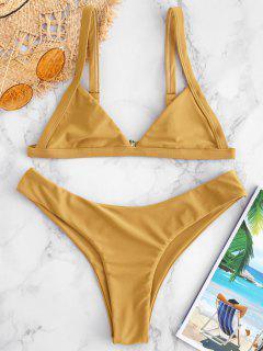 ZAFUL Unlined High Cut Bikini Set - Golden Brown S