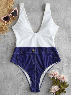 ZAFUL Denim Print Plunge One Piece Swimsuit - White L
