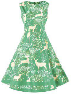 Christmas Elk Print High Waist Swing Dress - Aquamarine Xl