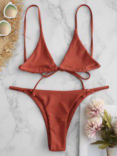 Traje De Bikini De Bralette Con Cordones - Salmón Naranja S