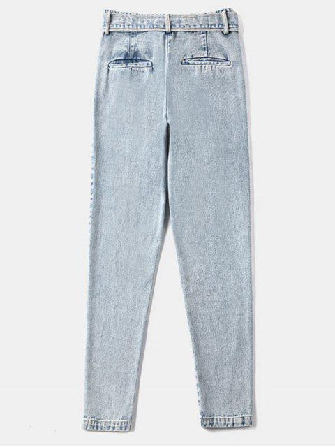 Zipper Fly bolsillos con cinturón Jeans - Gris Azulado M Mobile