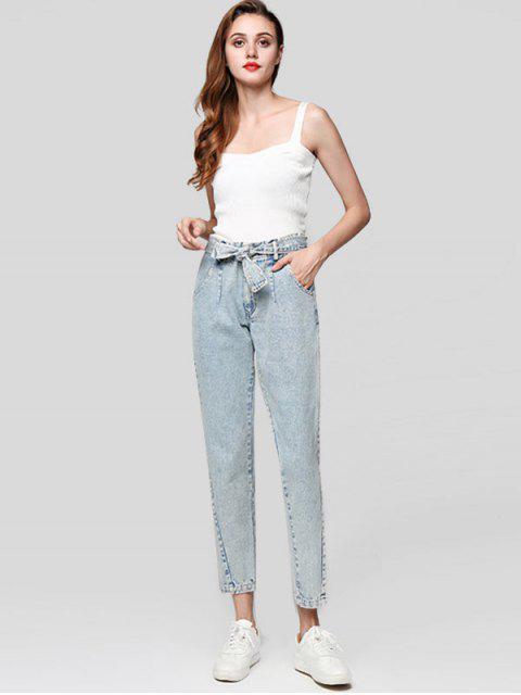 Zipper Fly bolsillos con cinturón Jeans - Gris Azulado L Mobile