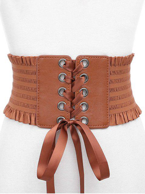 ladies Stylish Bowknot Fringed Wide Belt - LIGHT BROWN  Mobile