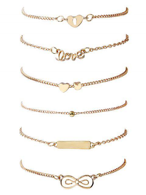 women's 6Pcs Round Shape and Bowknot Pattern Bracelets Set - GOLD  Mobile