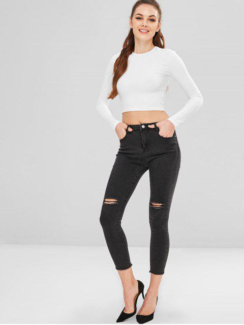 Pantalones vaqueros pitillo desgastados desgastados - Negro L Mobile