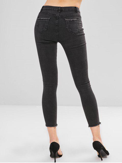 Pantalones vaqueros pitillo desgastados desgastados - Negro M Mobile