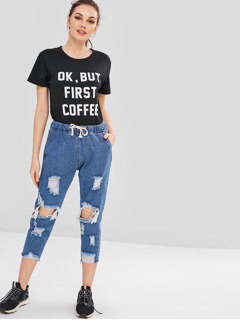Vaqueros estilo boyfriend desgastados - Azul de Jeans  S Mobile