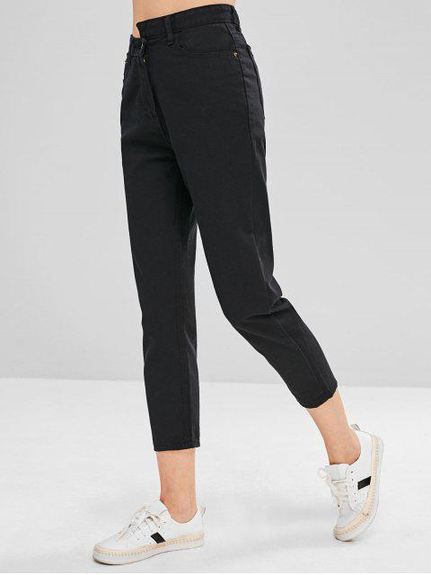 Jeans rectos de cintura asimétrica - Negro S Mobile
