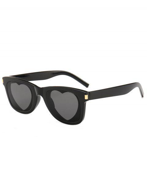 shop Heart Lens Plastic Frame Sunglasses - BLACK  Mobile