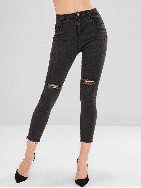 Pantalones vaqueros pitillo desgastados desgastados - Negro S Mobile