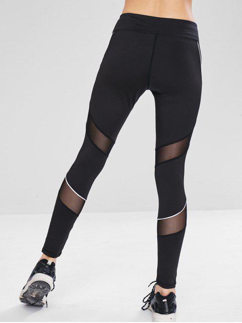 Leggings deportivos de yoga con inserciones de malla - Negro L Mobile