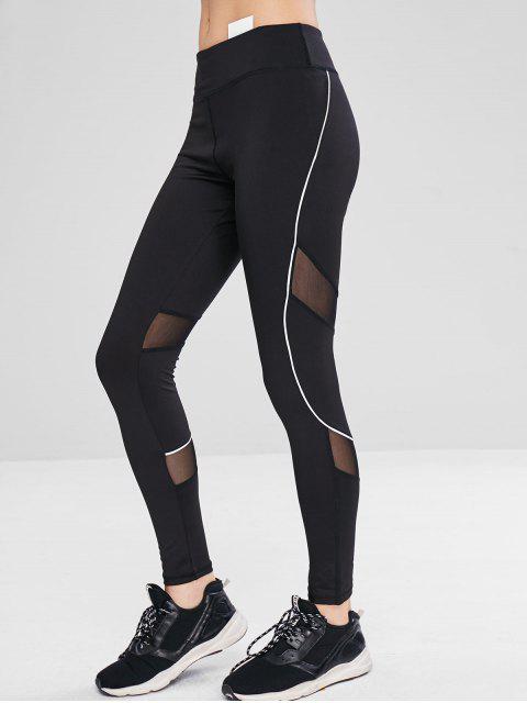 affordable Athletic Mesh Insert Yoga Gym Leggings - BLACK L Mobile
