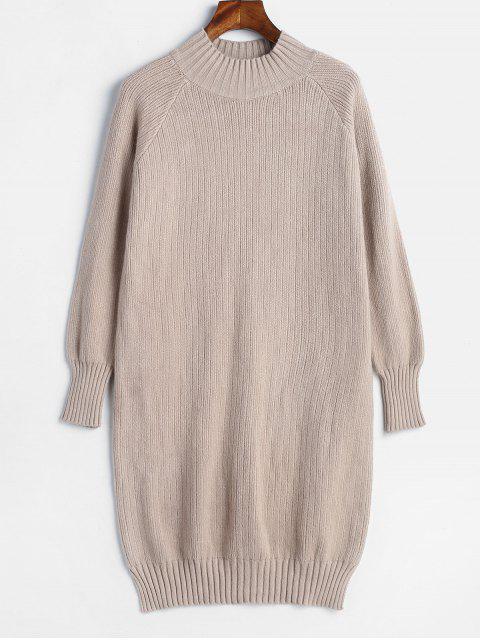 Raglanärmel - Mini-Pulloverkleid mit Schlitz - Tan Eine Größe Mobile