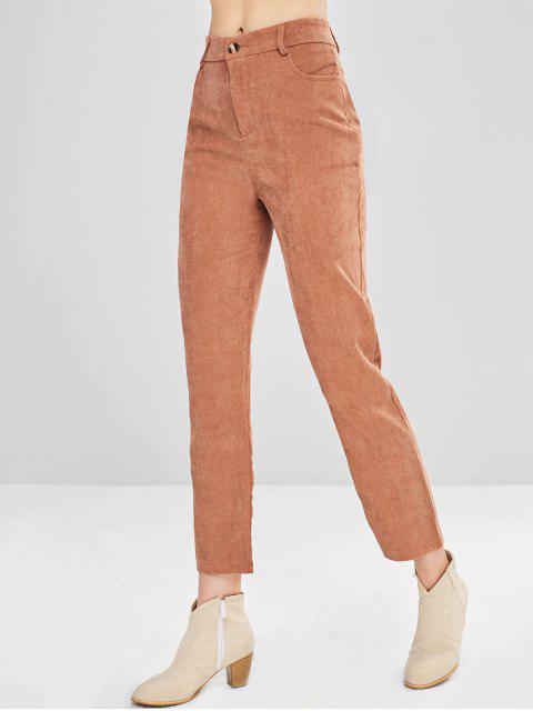 Pantalones de pana de gran altura - Salmón Naranja S Mobile
