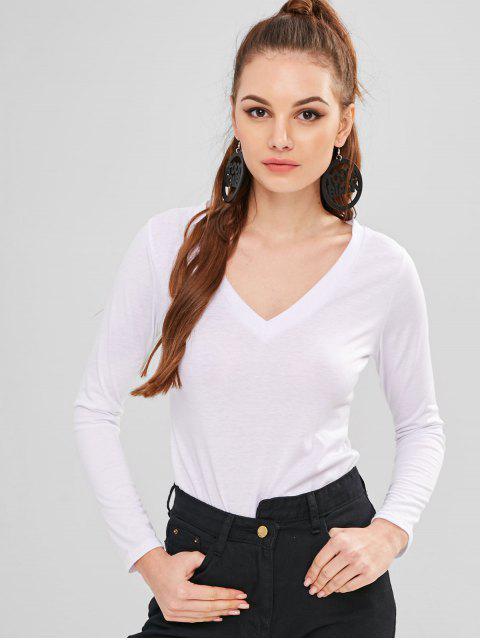T-Shirt mit V-Ausschnitt und langen Ärmeln - Weiß S Mobile