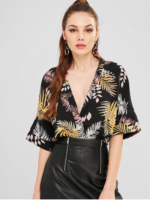 fancy Leaves Print Batwing Sleeve Blouse - BLACK M Mobile