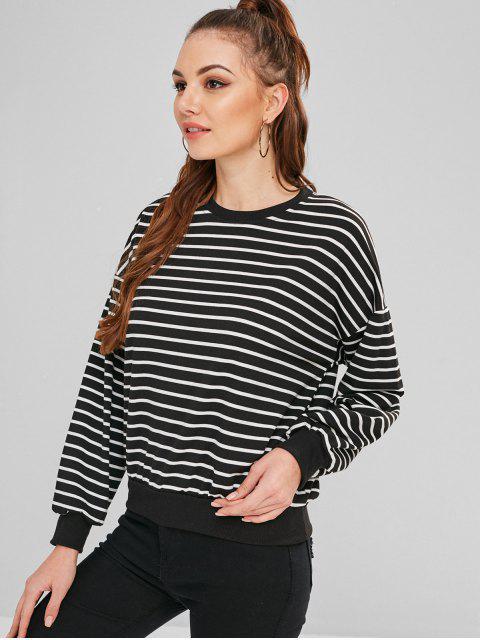 Sweat-shirt Rayé à Brodure Côtelé - Noir M Mobile