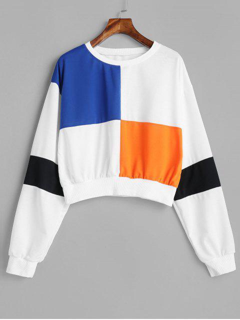 Drop Schulter Crop Color Block Sweatshirt - Weiß S Mobile
