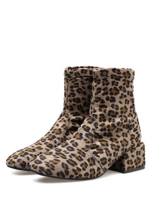 womens Chunky Heel Suede Sock Short Boots - LEOPARD EU 36 Mobile