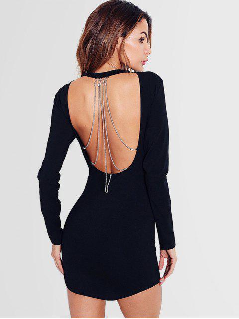 affordable Chain Embellished Backless Mini Dress - BLACK S Mobile