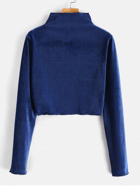 T-shirt Court Manches Longues à Col Cheminée en Velours - Bleu Foncé M Mobile