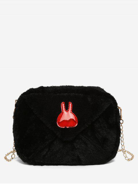 shops Bunny Printed Plush Mini Crossbody Bag - BLACK  Mobile