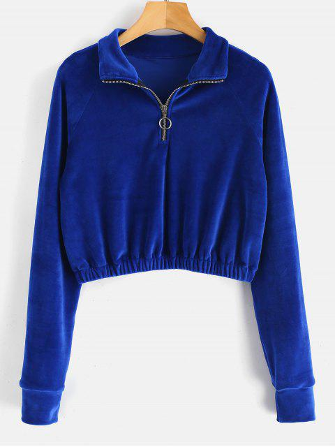 online Zipped Cropped Velvet Sweatshirt - BLUEBERRY BLUE M Mobile