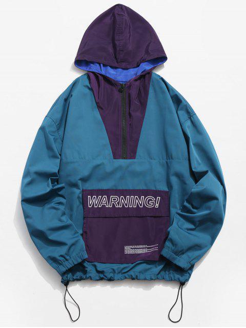 shop Half Zipper Pullover Windbreaker Jacket - BLUE IVY L Mobile