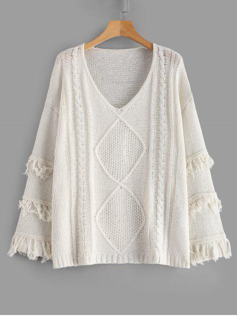 latest Cable Knit Wide Sleeve Fringed Oversized Sweater - WARM WHITE S Mobile