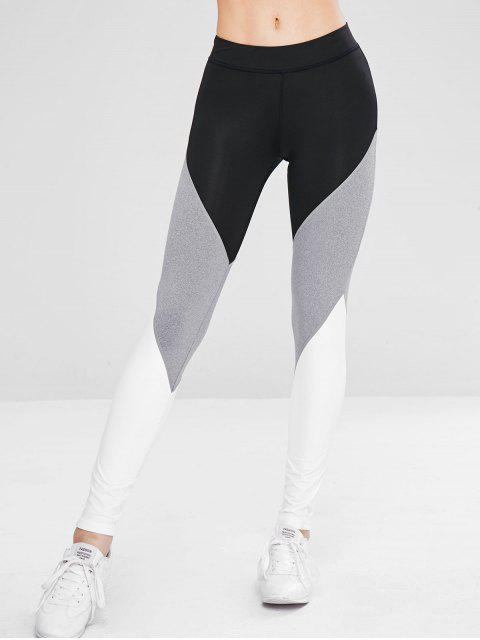 buy Athletic Color Block Gym Sport Leggings - BLACK S Mobile