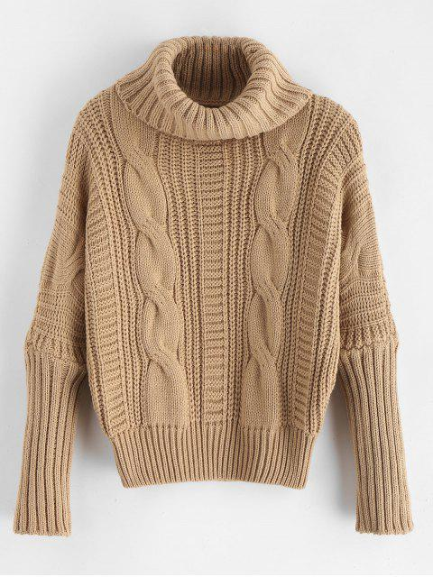 online Turtleneck Chunky Cable Knit Sweater - TAN ONE SIZE Mobile