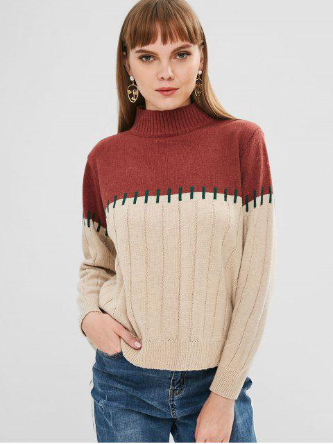 Panel Mock Neck Sweater - Multi Eine Größe Mobile
